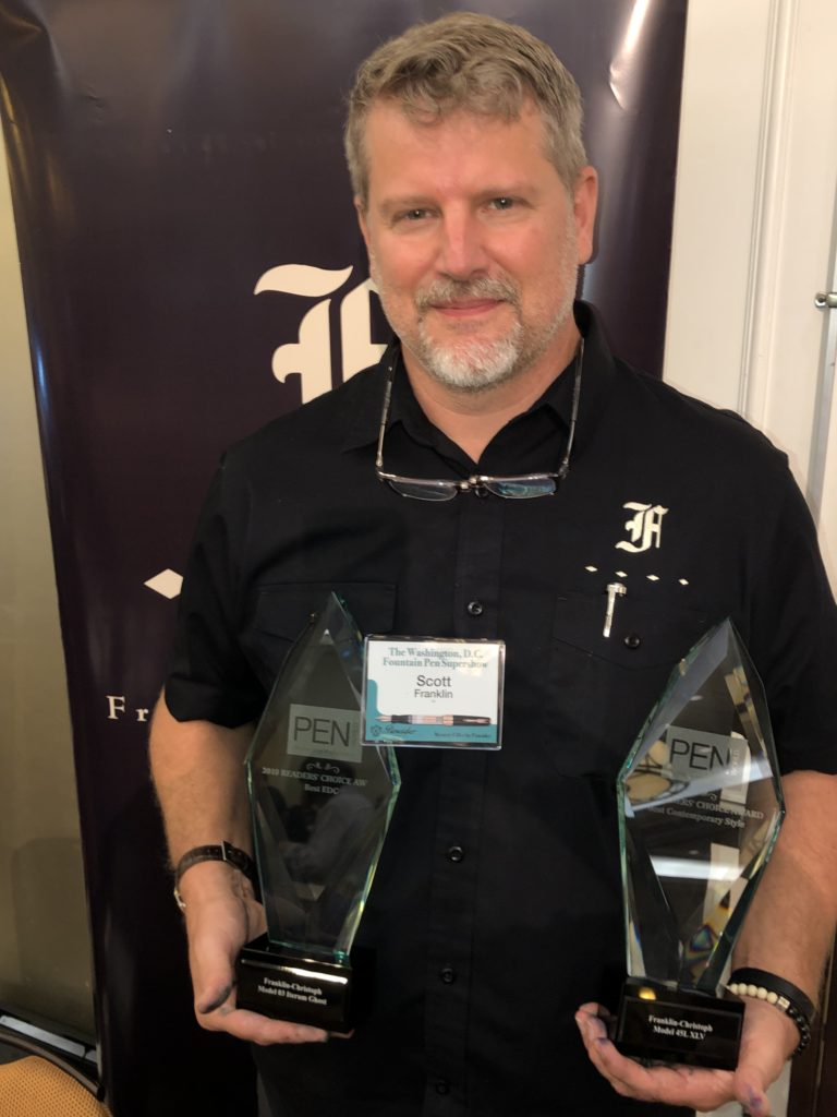 Pen World : Scott Franklin, CEO of Franklin-Christoph, with his two 2019 RCA awards.